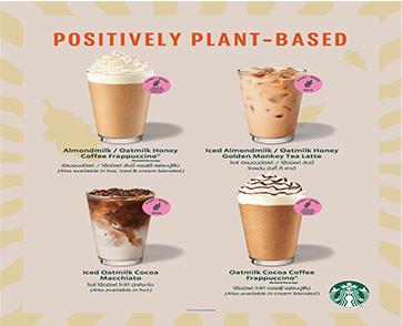 สตาร์บัคส์ เอาใจสายรักสุขภาพ เปิดตัวเครื่องดื่มจากนม Plant-based และเมนูอาหารที่ทำจากพืชคู่กัน